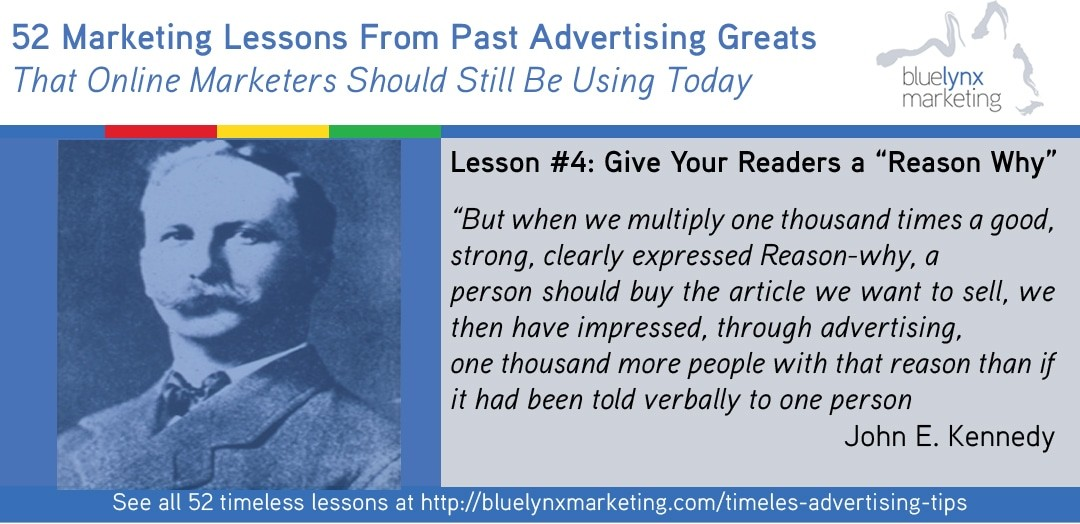 "It all starts with ""Reason Why Advertising"""